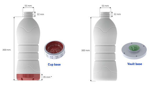 BOTTLES LIMITATIONS – *Base with ribs on the side needs cup base which has limited height at 35mm