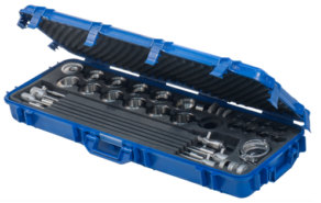 Includes a suitcase with a full set of nozzles to manage a wide variety of products.