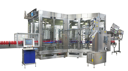 Fully enclosed clean filler capper for sauces with internal bottle treatment.